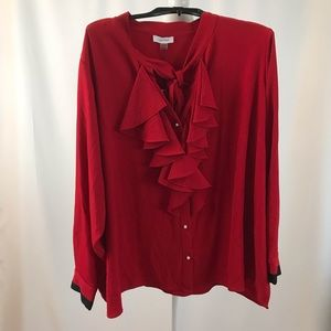 Ruffle front tie neck blouse (#38)